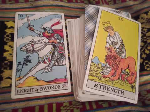 Knight of Swords + Shadow Card: VIII Strength