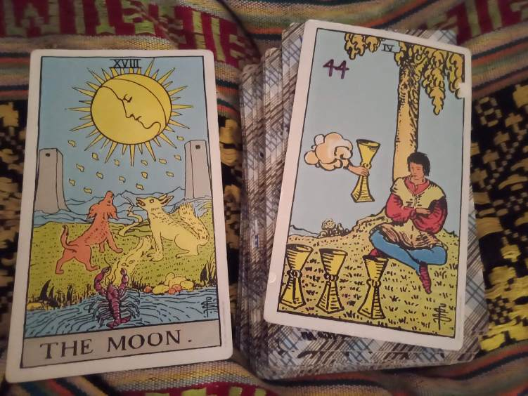 Rider Waite Smith Deck (RWS)XVIII The Moon + Shadow Card: IV of Cups (Moon in Cancer)