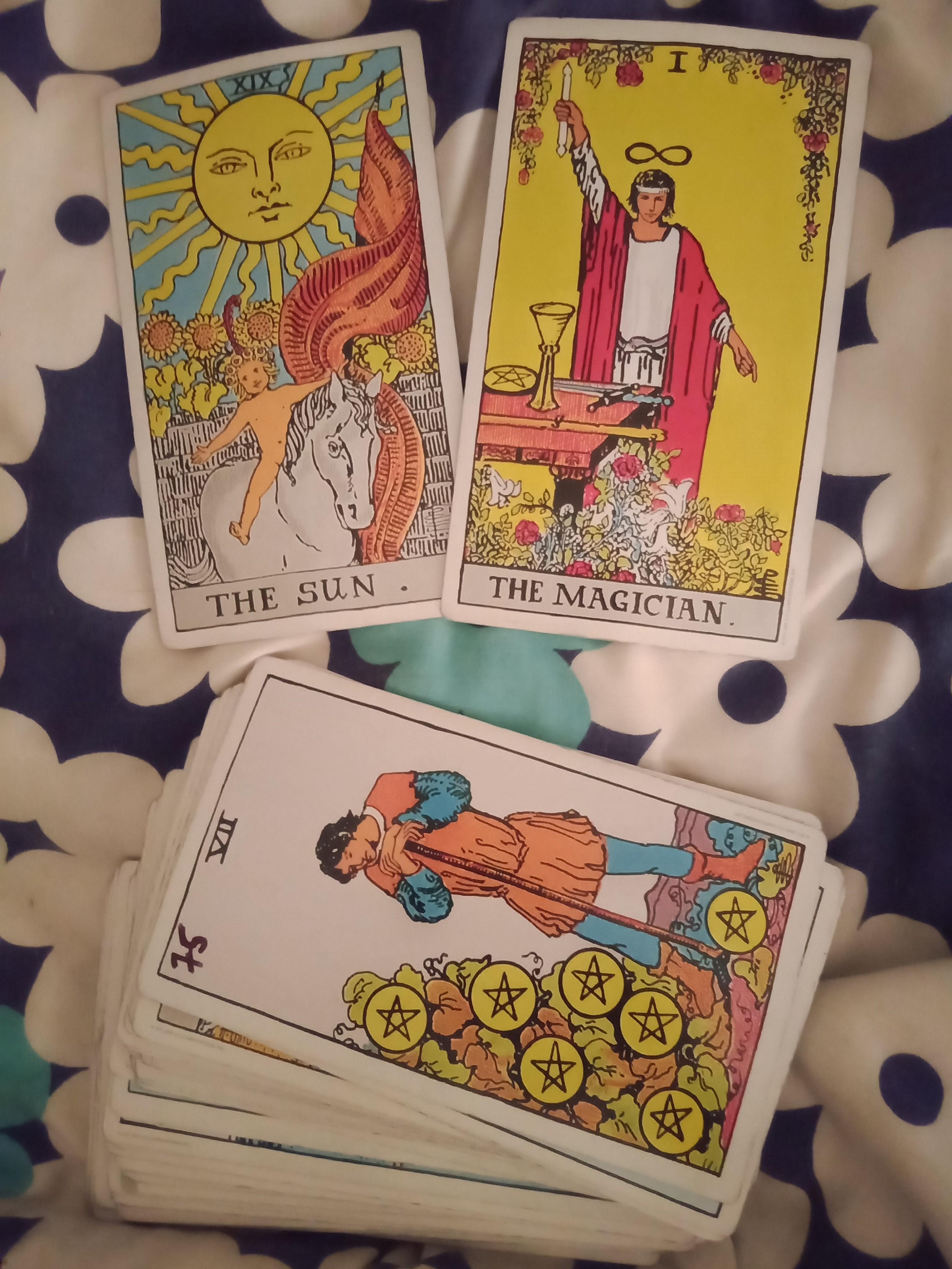 XIX The Sun + I The Magician & Shadow Card: VII Pentacles 'Failure' (RWS)