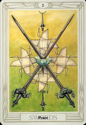II Swords 'Peace' (Moon in Libra) - Crowley Thoth deck